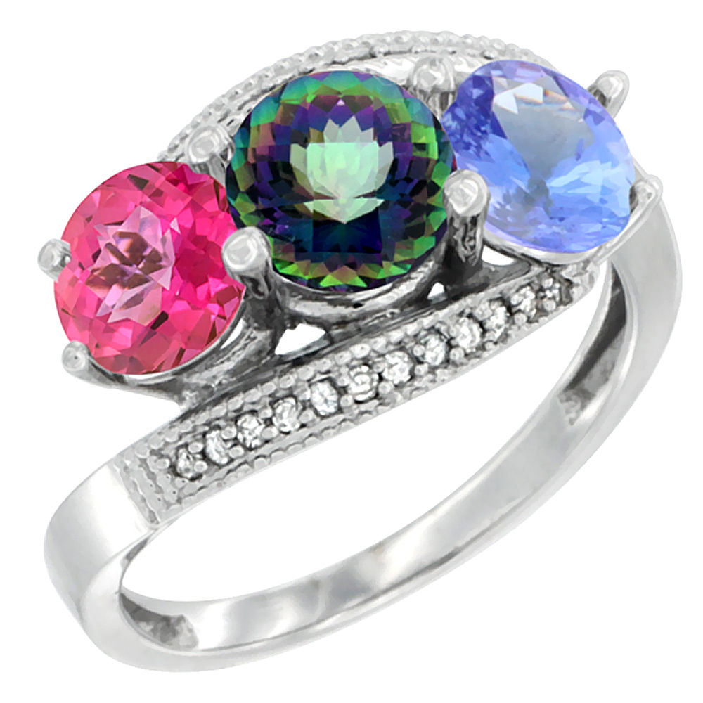14K White Gold Natural Pink Topaz, Mystic Topaz & Tanzanite 3 stone Ring Round 6mm Diamond Accent, size 5 by Gabriella Gold