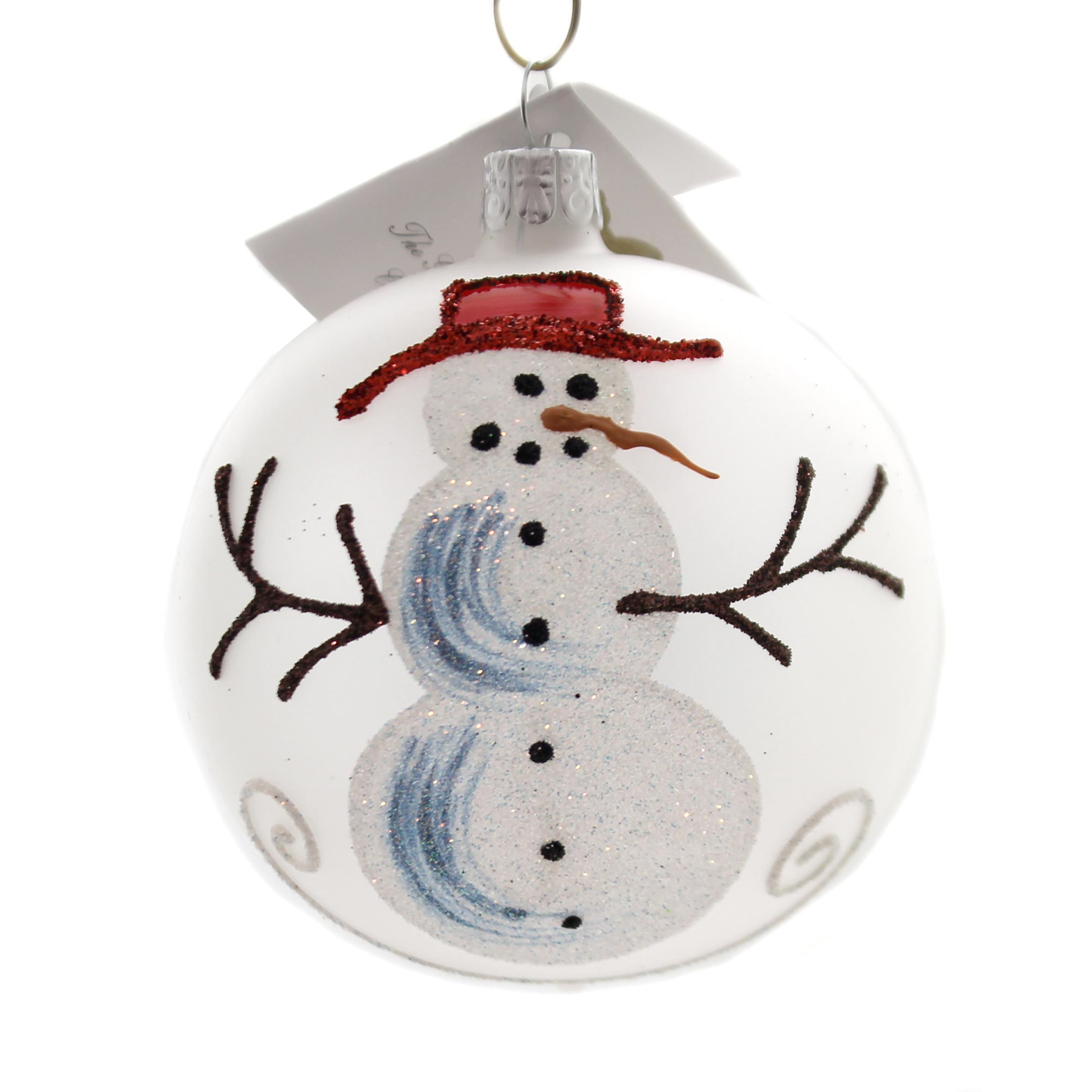 Golden Bell Collection FROSTED BALL WITH SNOWMAN Ornament Carrot Nose Bm1032