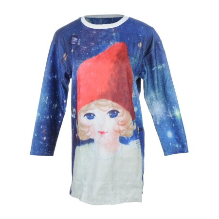 S/M Fit Blue All Over Starry Night Cute Red Cap Gnome Print Dress (Gnome Dress)