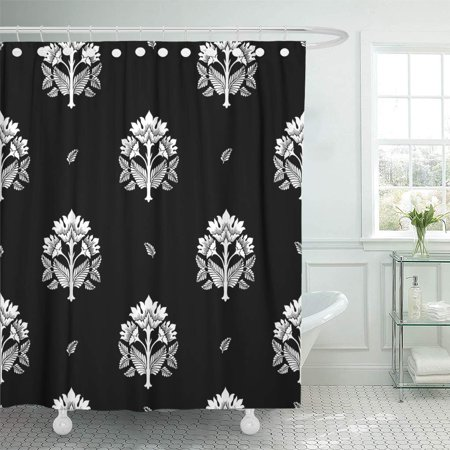 KSADK Block with Fantasy Flowers Natural Floral Curl Paisley Drawn Hand Batik Bohemian Shower Curtain Bath Curtain 60x72 inch