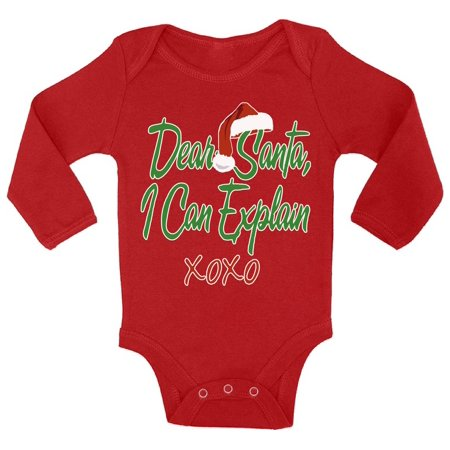 Awkward Styles Dear Santa I Can Explain XOXO Christmas Baby Outfit Santa Hat Infant Bodysuit Prop Baby Newborn Boy Newborn Girl First Christmas Clothes Funny Santa XOXO Christmas - Newborn Santa Outfit Boy