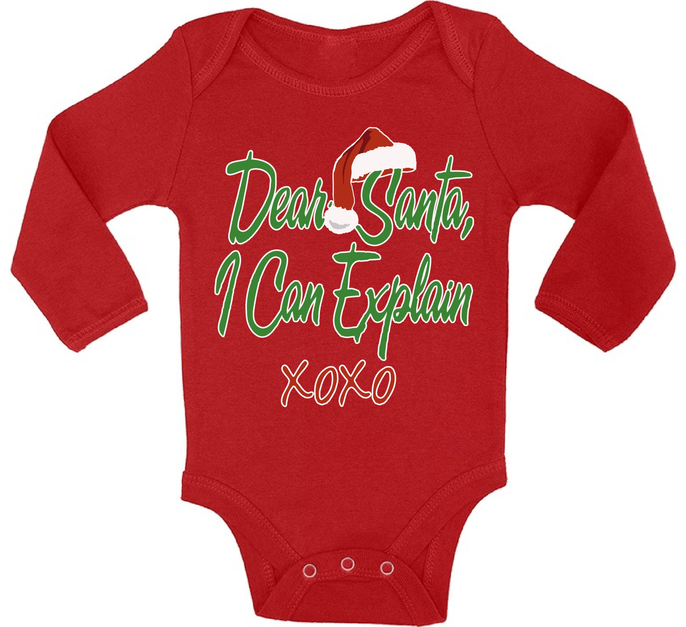 Awkward Styles Dear Santa I Can Explain XOXO Christmas Baby Outfit Santa Hat Infant Bodysuit Prop Baby Newborn Boy Newborn Girl First Christmas Clothes Funny Santa XOXO Christmas Bodysuit