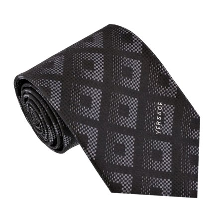 Circle Pattern Silk Necktie (Versace Men's Square Patterned Silk Necktie Charcoal Grey )