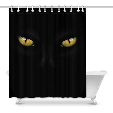 MKHERT Yellow Eyes Black Panther On Dark Background Halloween Theme Decor Waterproof Polyester Bathroom Shower Curtain Bath Decorations Hooks 60x72 inch](Halloween Bathroom Decor Ideas)