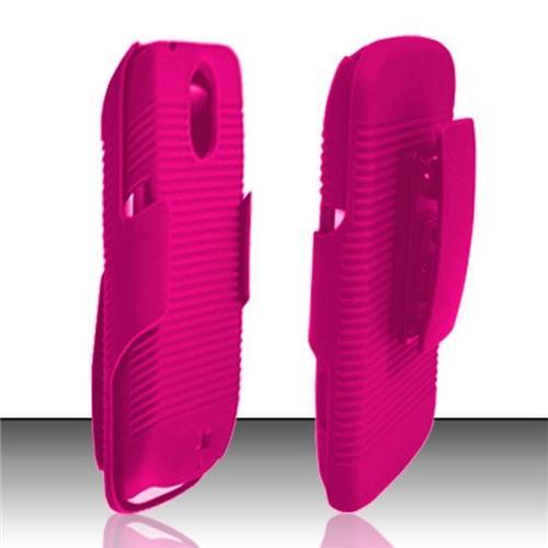 Insten Hot Pink Rubberized Hard Holster Combo Case For Samsung Galaxy Nexus CDMA i515/i9250