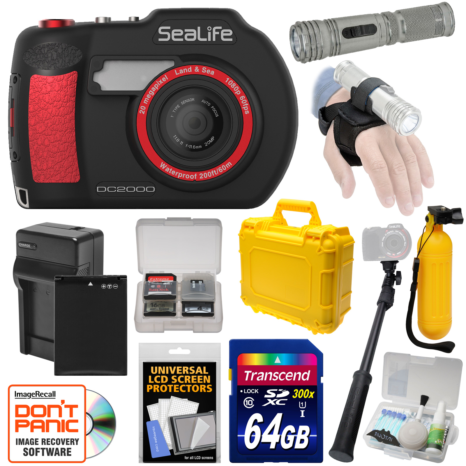 SeaLife DC2000 HD Underwater Digital Camera with AquaPod Selfie Stick + 64GB Card + Battery & Charger + Hard... by SeaLife