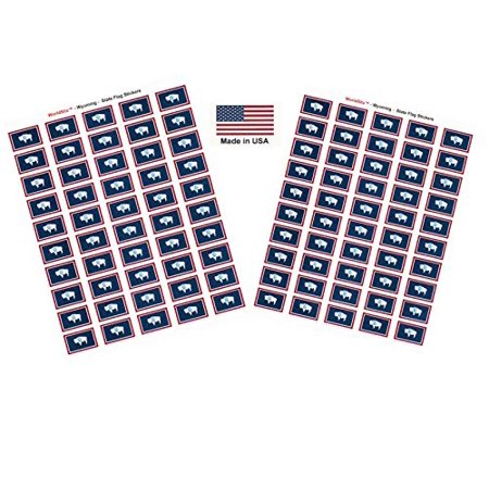 "Made in USA! 100 Wyoming 1.5"" x 1"" Self Adhesive State Flag Stickers, Two Sheets of 50, 100 Wyoming Sticker Flags Total"