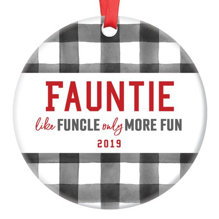 Fauntie Gift Ornament Best Aunt Christmas 2019 Funny Ceramic Keepsake Present Most Fun Auntie Family Member Relative Niece Nephew 3