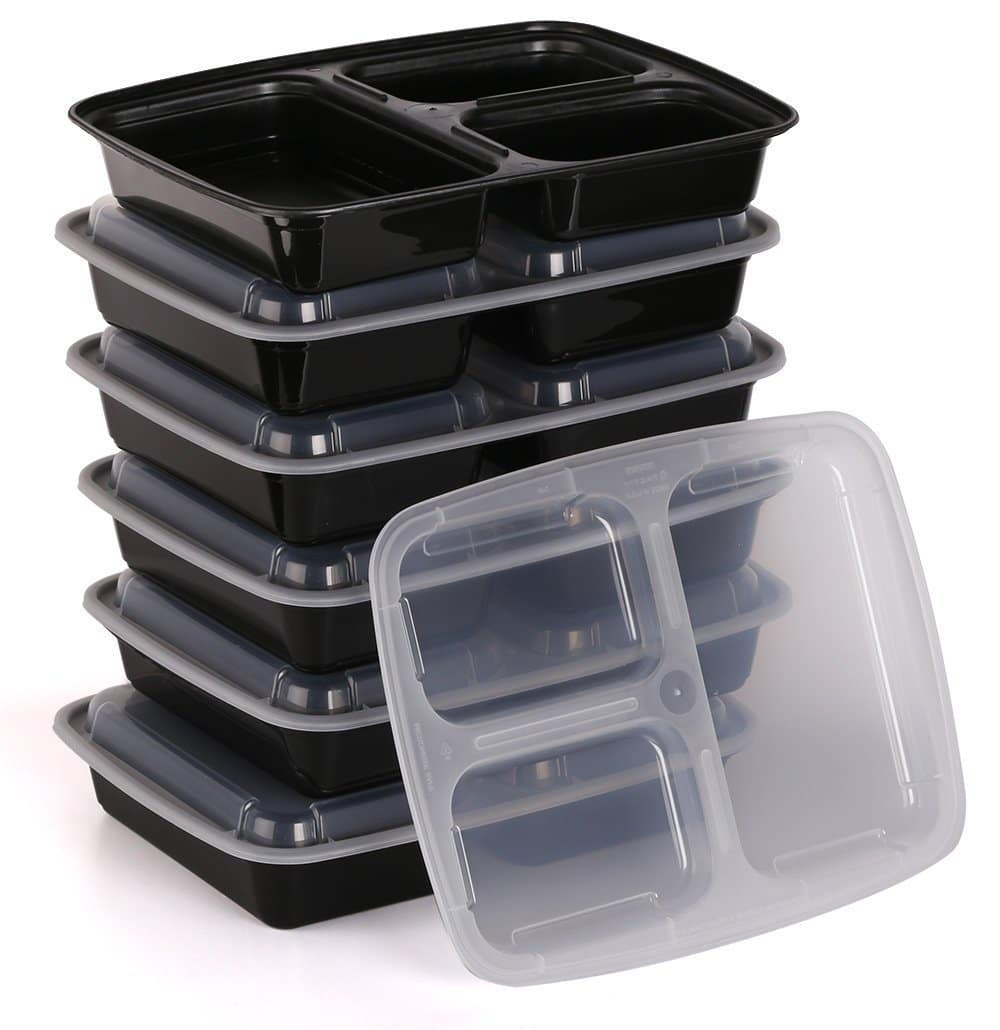 Estilo 3 Compartment Microwave Safe Bento Food Container with Lid (6 pcs)