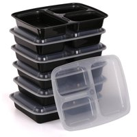 Estilo 3 Compartment Microwave Safe Bento Food Container with Lid 6-pack by Estilo