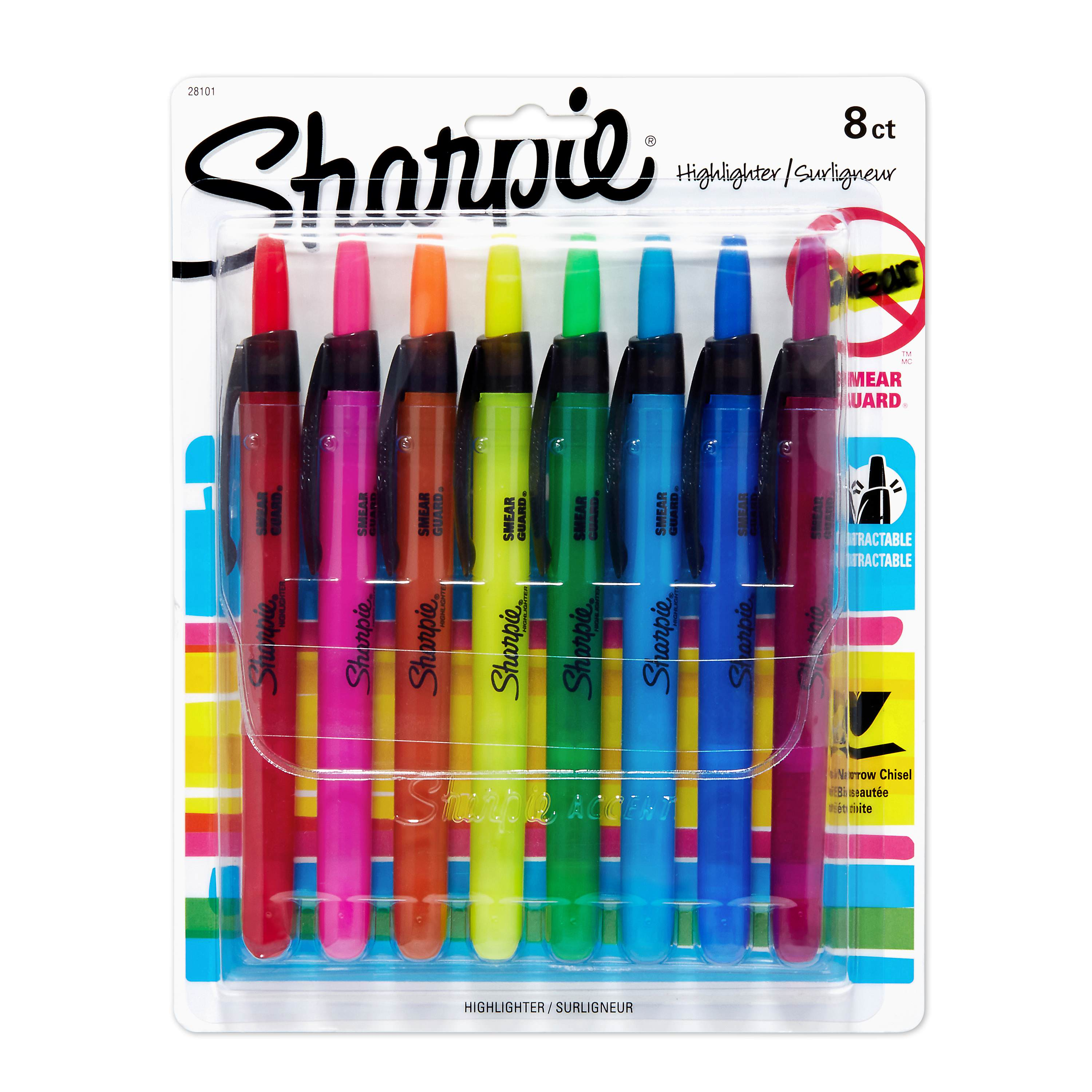 Sharpie Retractable Highlighters, Chisel Tip, Assorted, 8 Pack