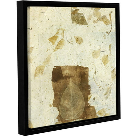 Artwall Elena Ray   Wabi Sabi Bodhi Leaf Collage 1   Gallery Wrapped Floater Framed Canvas