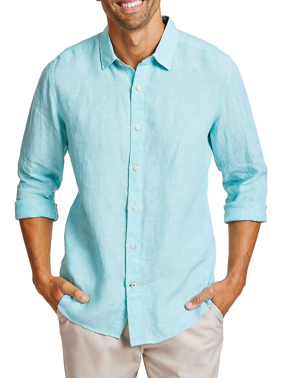 Heathered Linen Casual Button-Down Shirt