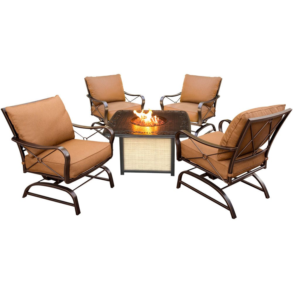 Cambridge Outdoor Bradford 5-Piece Conversation Set with Cast-Top Fire Pit Table
