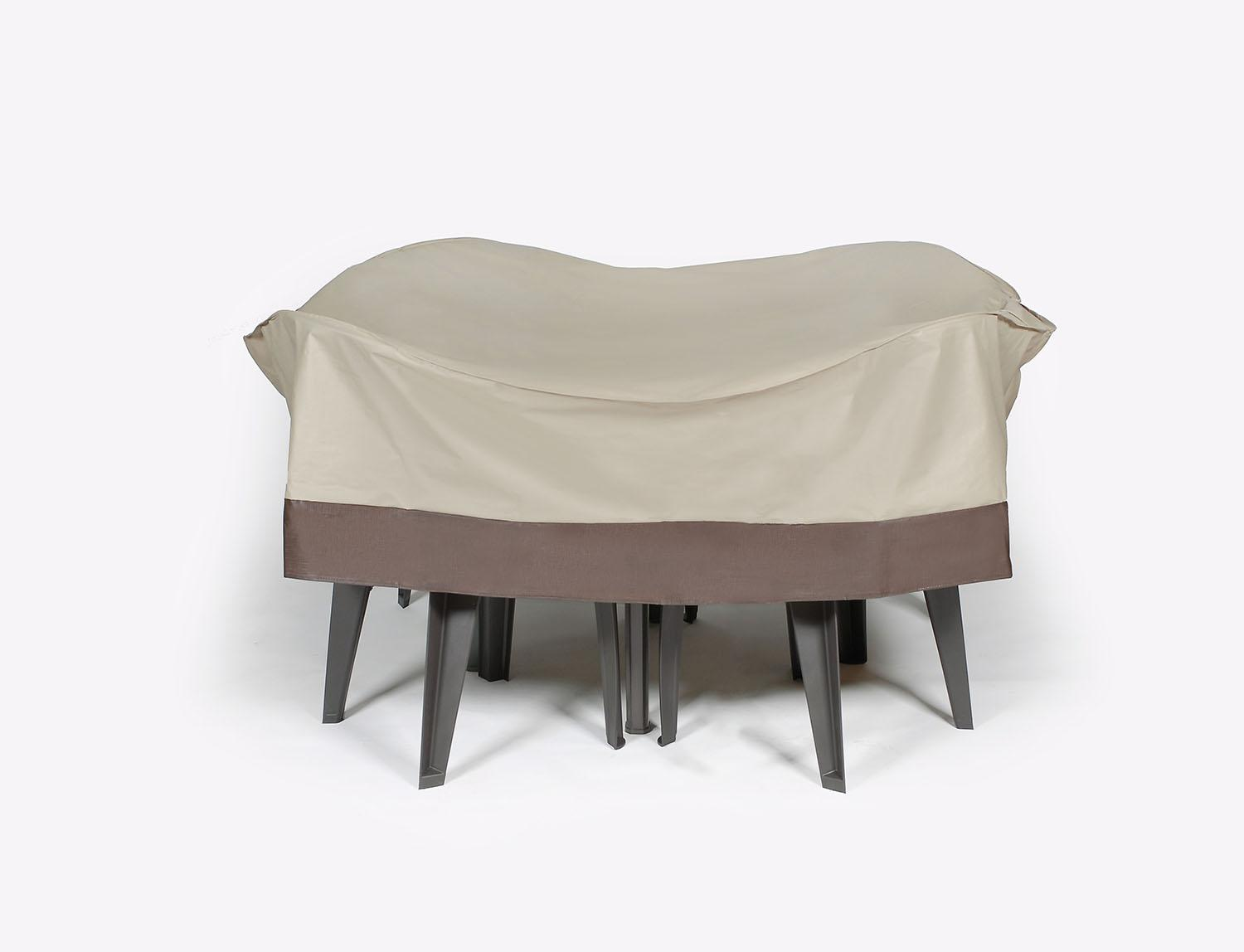 Durable Outdoor Round Patio Furniture Set Vinyl Cover Taupe With