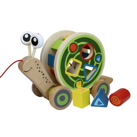 Walk A Long Snail Toddler Wooden Pull Toy  Usa  Brand Hape