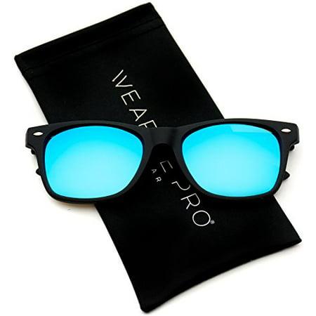 WearMe Pro - Square Horn Rimmed Glossy Retro Frame Mirror Lens (Retro Square Sunglasses)