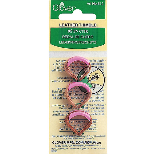 Clover Leather Adjustable Thimbles, 3pk