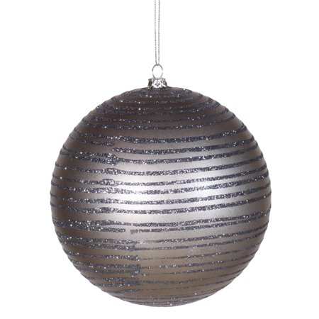 Pewter Glitter Striped Shatterproof Christmas Ball Ornament 4