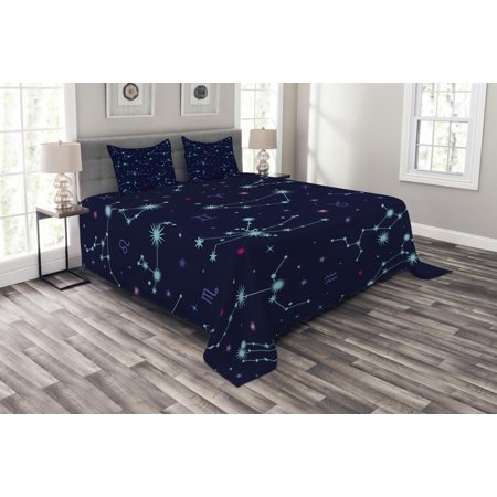 Astrology Bedspread Set, Colorful Zodiac Horoscope Sign with Dots and Snowflake Like Image, Decorative Quilted Coverlet Set with Pillow Shams Included, Mint Green Purple and Pink, by Ambesonne