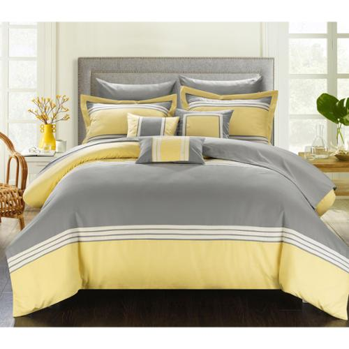 Chic Home Falconia Hotel Collection 10-piece Bed In a Bag with Sheet Set Yellow-Queen