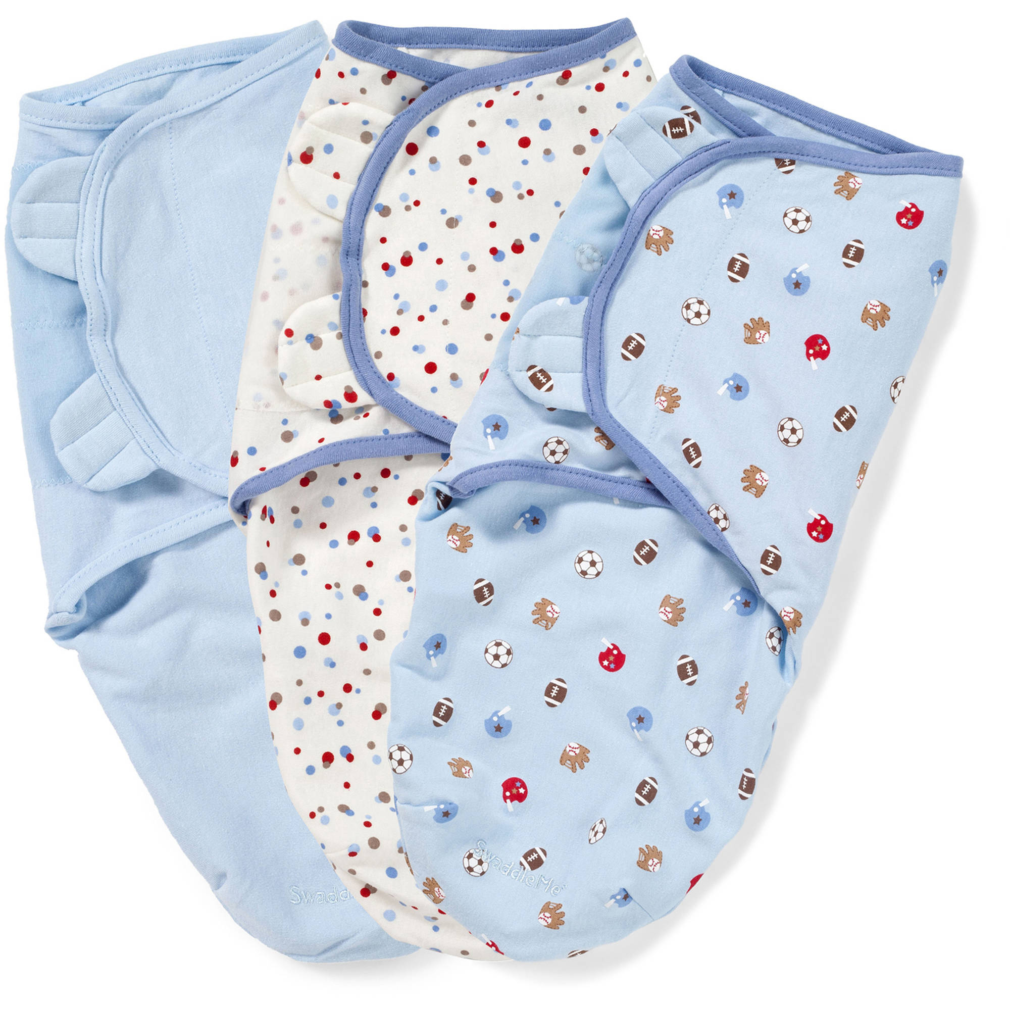 SwaddleMe Original Swaddle, 3-Pack, Blue Sports Dots, Small
