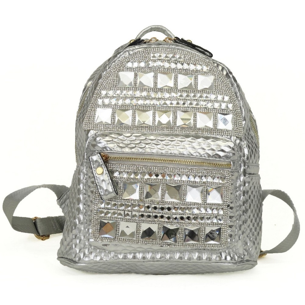 Silver Gleaming Shiny Accent Zipper School Trendy Backpack