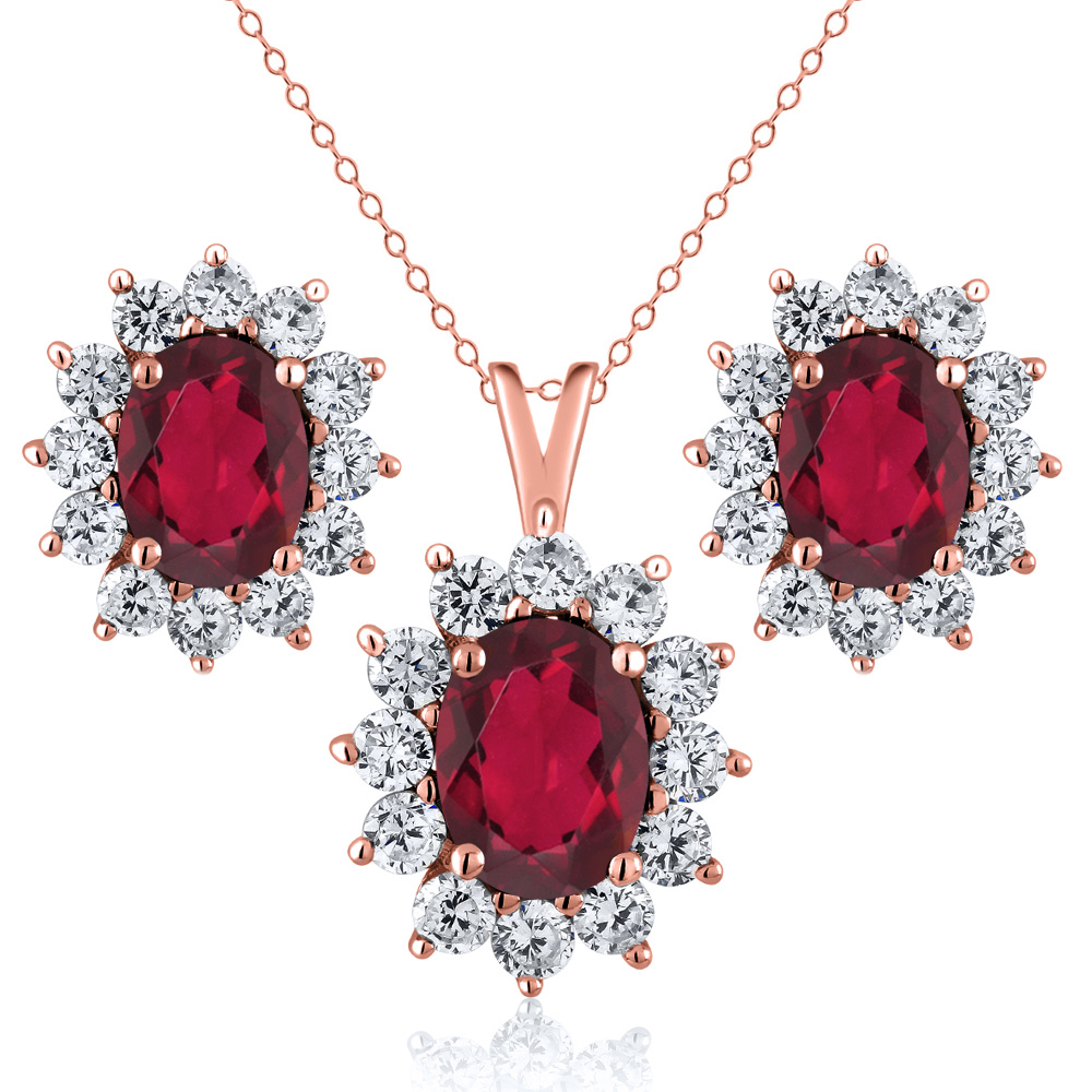 3.50 Ct Oval Red Mystic Topaz 18K Rose Gold Plated Silver Pendant Earrings Set by