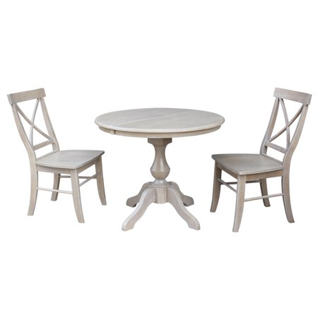 Fantastic 36 Round Dining Table With 12 Leaf And 2 X Back Chairs Washed Gray Taupe 3 Piece Set Short Links Chair Design For Home Short Linksinfo