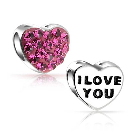 Pink Heart Charm (Pink Crystal I Love You Word Heart Charm Bead For Women For Wife 925 Sterling Silver Fits European Charm Bracelet )