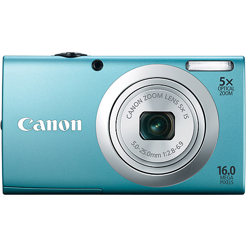 """Canon PowerShot A2400 IS Blue 16MP Digital Camera w/ 5x Optical Zoom Lens, 2.7"""" LCD Display, HD Video, Intelligent Image Stabilization"""