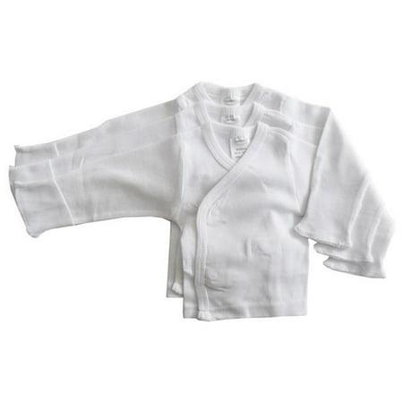 Bambini 071 P Rib Knit White Long Sleeve Side-Snap Shirt Mitten Cuff, Preemie - Pack of 3 - image 2 de 2