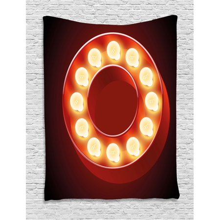 Letter O Tapestry  Entertainment World In Vegas Theme Vintage Casino Nightclub Theater Typeset  Wall Hanging For Bedroom Living Room Dorm Decor  40W X 60L Inches  Ruby Yellow Black  By Ambesonne