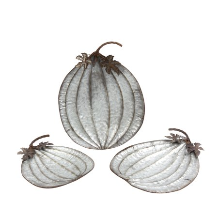 Gerson Assorted Rustic Metal Pumpkin Plates (Set of 3) ()