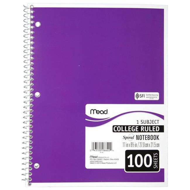 Mead Products 6622 11 x 8 in. Perforated Spiral Bound Notebook College Rule, White - 100 Sheets