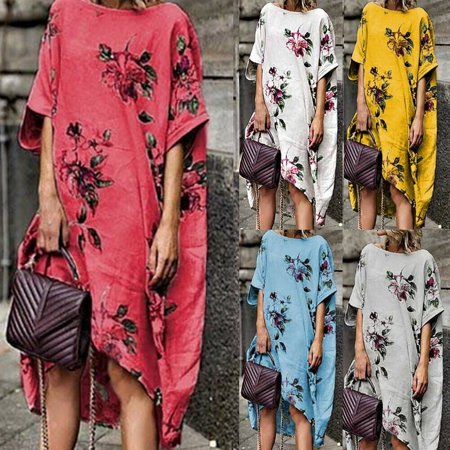 70e80fe58ef Urkutoba - Urkutoba Women s Cotton Linen Maxi Dress Short Sleeve Casual  Boho Kaftan Tunic Plus Size - Walmart.com
