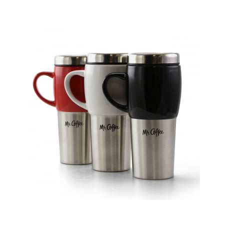 Mr. Coffee Traverse 3 Piece 16 Ounce Stainless Steel and Ceramic Travel Mug in Assorted Colors Nfl Ceramic Travel Coffee Mug