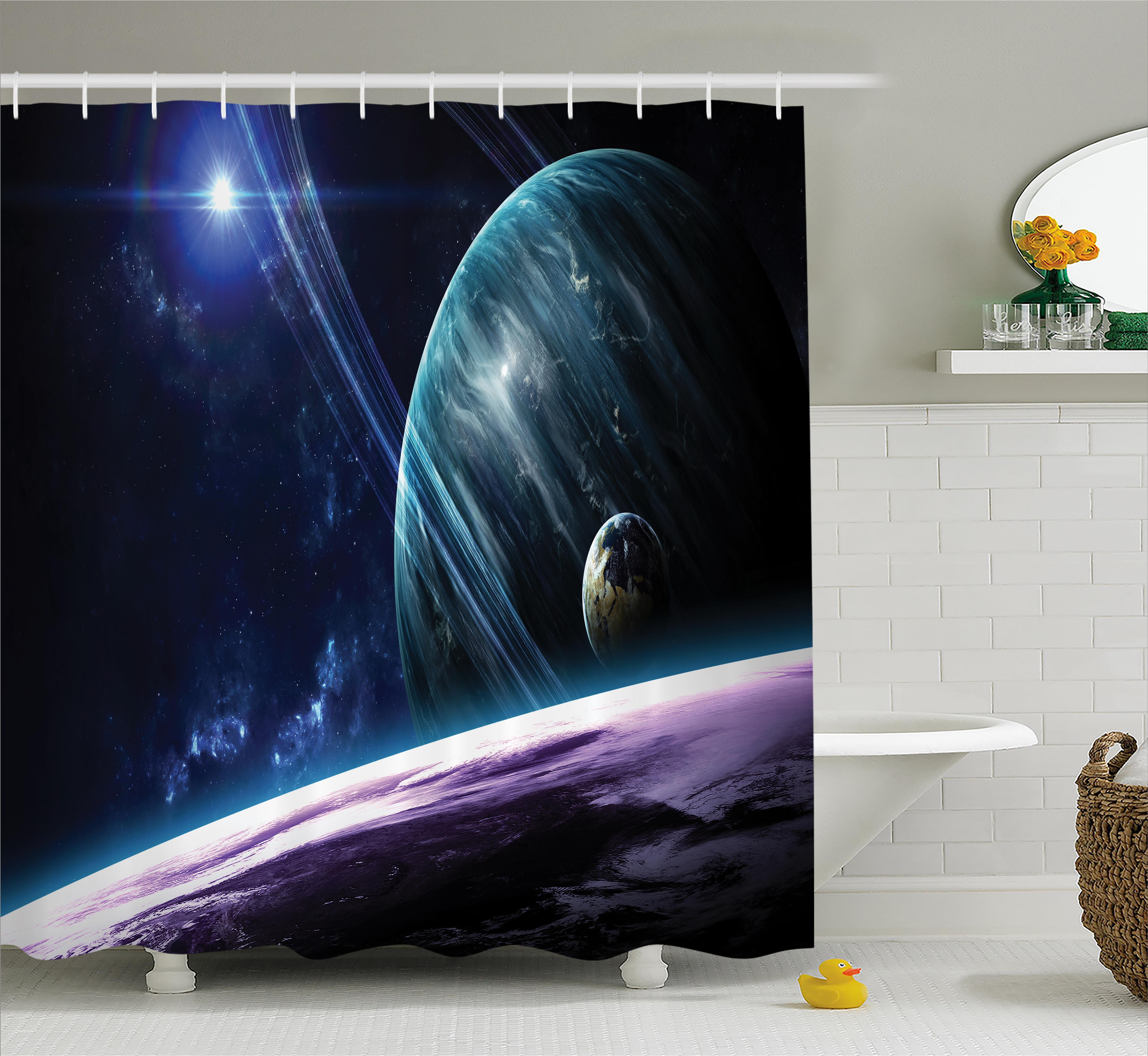 Space Shower Curtain, Universe With Planets And Dynamic Luminous Effects  Celestial Body Astronomy Print,