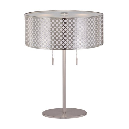 Netto 2 Light Table Lamp Polished Steel (Includes CFL Light Bulb) - Lite Source