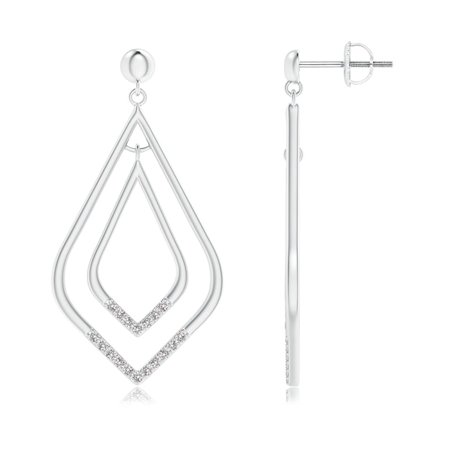 April Birthstone - Elongated Kite-Shaped Diamond Double Dangle Earrings in 14K White Gold (1mm Diamond) - SE1398D-WG-IJI1I2-1 14k Wg Diamond Dangle