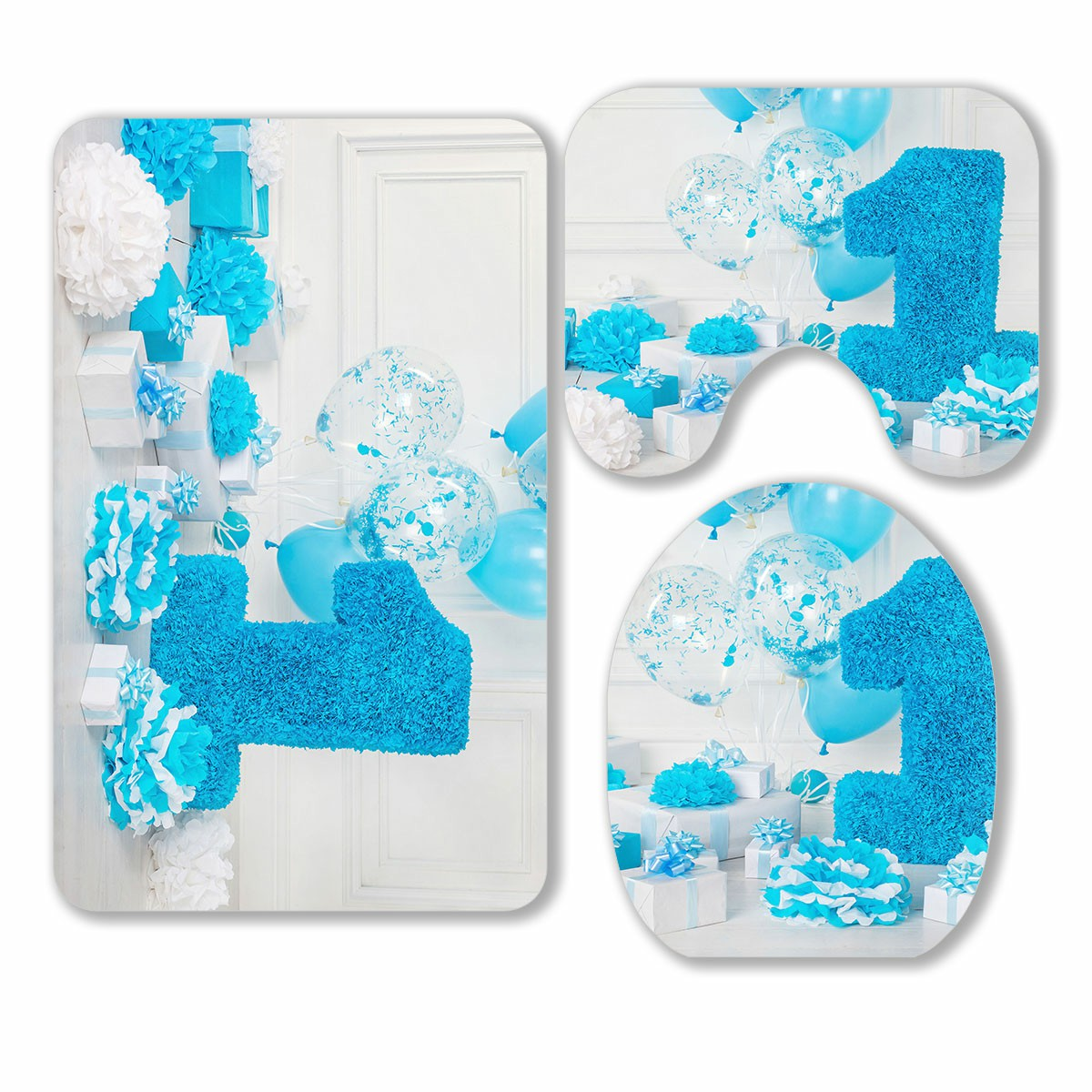 Eczjnt Decorated Number 1 For A Birthday 3 Piece Bathroom Rugs Set Bath Rug Contour Mat And Toilet Lid Cover Walmart Com Walmart Com