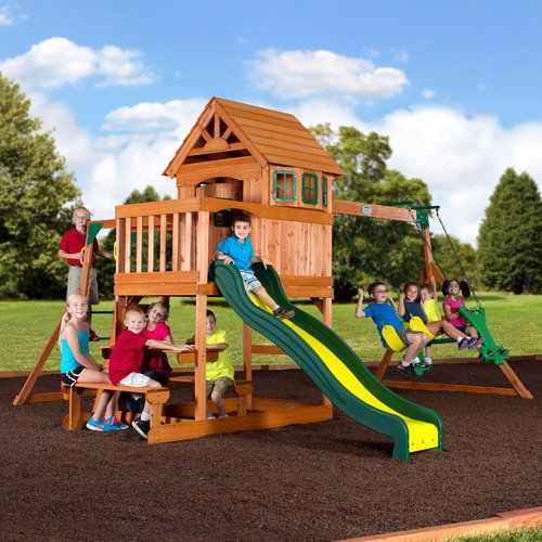 Backyard Discovery Springboro All Cedar Swing Set Walmart Com