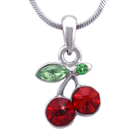 cocojewelry Small Red Cherry Fruit Pendant Necklace Women Jewelry ()