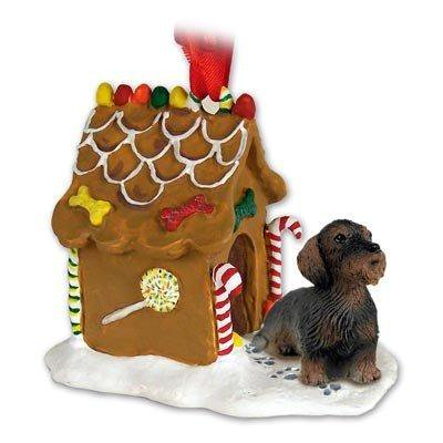 WIRE HAIR DACHSHUND Dog NEW Resin GINGERBREAD HOUSE Christmas Ornament 124