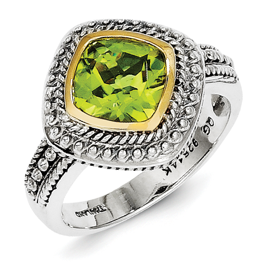 Sterling Silver w 14k Gold Peridot Ring by