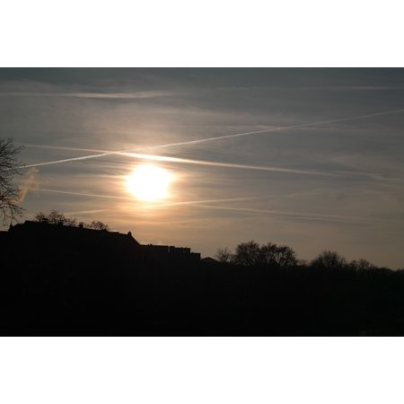 Sparkle Paper Cloud 9 Design (Framed Art for Your Wall Contrail Sparkle Sunset Clouds Sun Sky Golden 10x13 Frame)