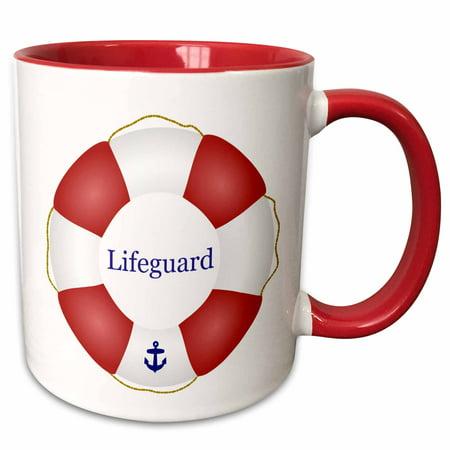 Life Guard Float (3dRose Lifeguard lifesaver Swimming pool life saver preserver - sea beach life guard red and white float - Two Tone Red Mug,)