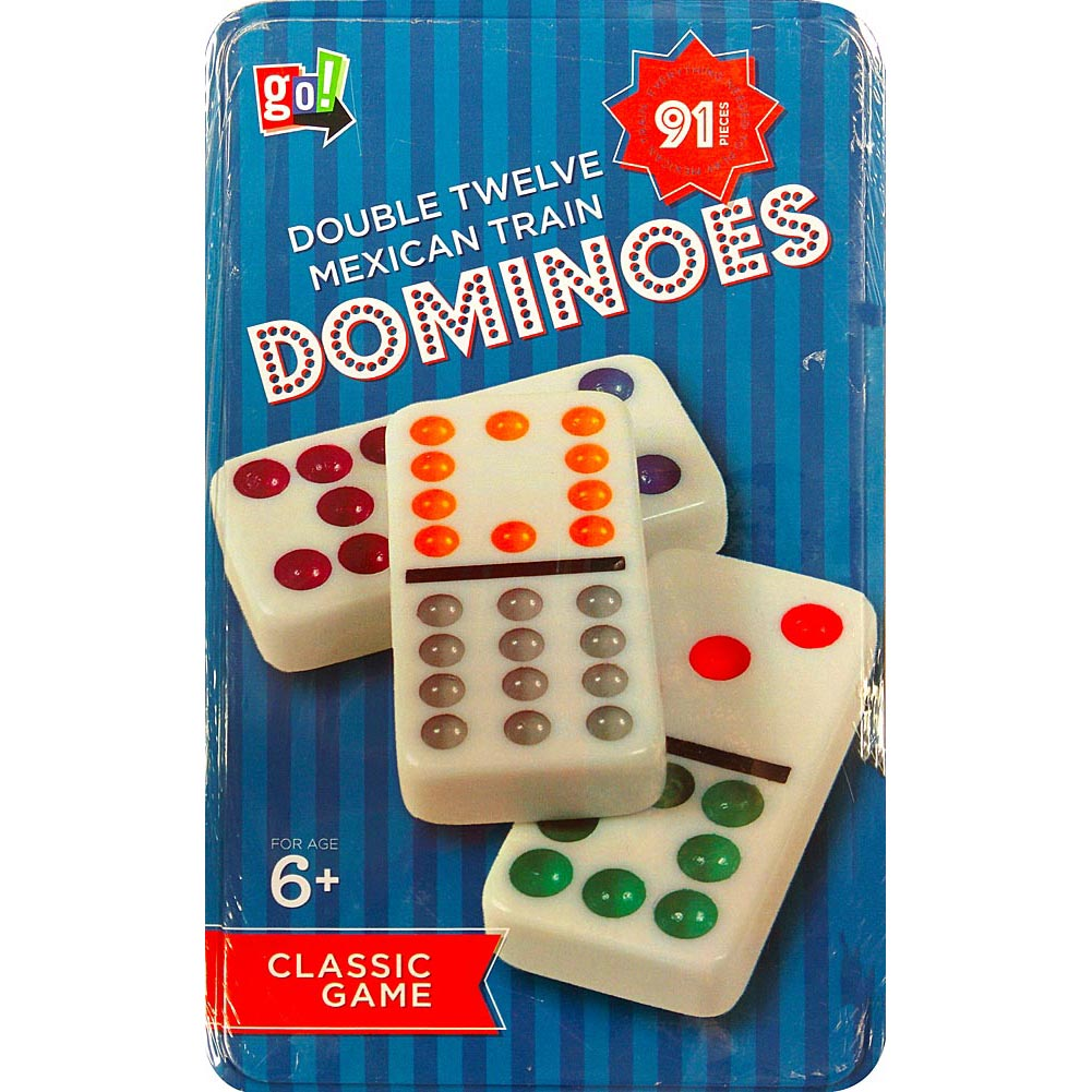 Double 12 Dominoes in Tin, Dominoes by Cardinal