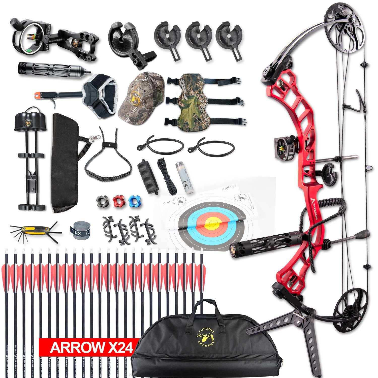 Archery Trigon Compound Bow full Package,CNC Milling Bow Riser,USA Gordon Composites Limb (Red) by