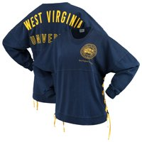 West Virginia Mountaineers Women's Chunky Side Lace-Up Spirit Jersey T-Shirt - Navy